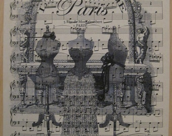 paris l'atelier french dress forms on vintage sheet music