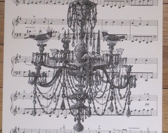 french market style chandelier with birds vintage sheet music