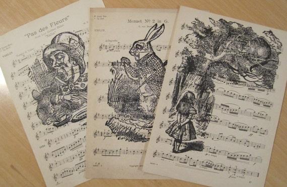alice in wonderland shabby chic vintage sheet music lot of 3