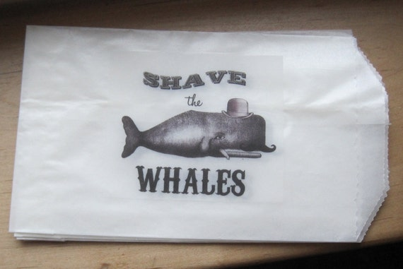 whimsical shave the whales coastal chic glassine sacks set of 6