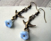Vintage Bird Earrings Neo Victorian Jewelry Blue Flower Drop Earrings