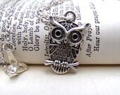 Silver Owl Necklace Branch Cute Little Owl Jewelry Under 10