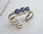 Iolite Jewelry Ear Cuff Silver Sterling Ear Cuffs Body Jewelry Tiny Faceted Blue Stones