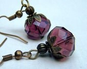 Vintage Earrings Vintage Jewelry Purple Earrings Eggplant Vegetables Neo Victorian Earrings Romantic