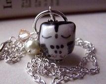 Black Owl Necklace Handmade Porcelain Sleeping Girls Owl Jewelry