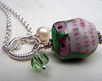 Owl Jewery Green Owl Necklace Cute Little Owls Girls Necklace