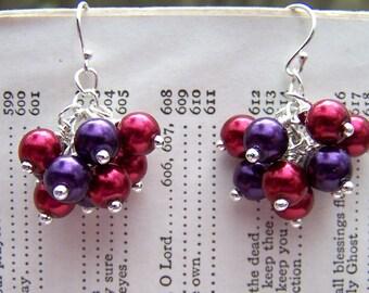 Red Purple Pearl Earrings Pearl Jewelry Drop Earrings Summer Berry