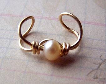Gold Ear Cuff Earcuff Freshwater Pearl Jewelry Ear Wrap Body Jewelry