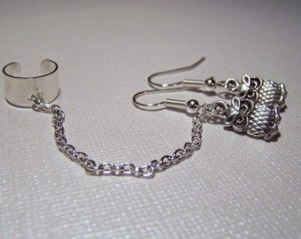 Chain Ear Cuff with Cute Owl Earrings Set Owl Jewelry