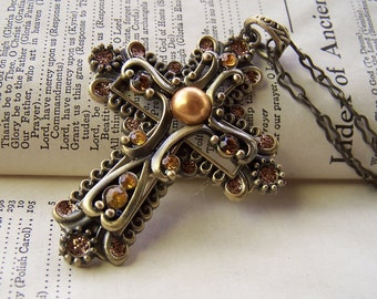 Religious Jewelry Cross Jewelry Vintage Cross Necklace Neo Victorian Antiqued Brass Big Chunky Necklace
