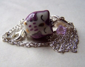 Purple Sleeping Owl Necklace  - Owl Jewelry -Owls Charms -Handmade Porcelain Sleeping
