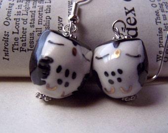 Black Owl Earrings Cute Little Porcelain Owl Jewelry Girls Earrings