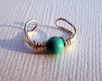Silver Ear Cuff Turquoise Jewelry Earcuff Ear Wrap