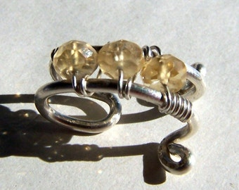 Ear Cuff Silver Ear Cuffs Sterling Silver Ear Cuff Yellow Citrine Ear Cuff