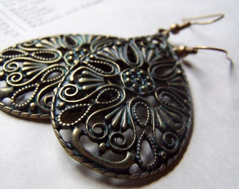 Chandelier Earrings Big Dangle Earrings Filigree Jewelry Vintage Inspired Neo Victorian Romantic