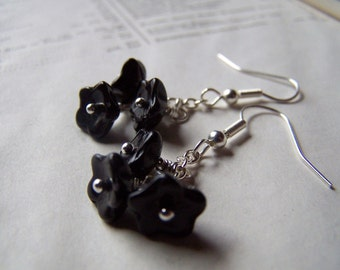 Black Flower Earrings Vintage Jewelry Neo Victorian Earrings Jet Black Jewelry Vintage Earrings