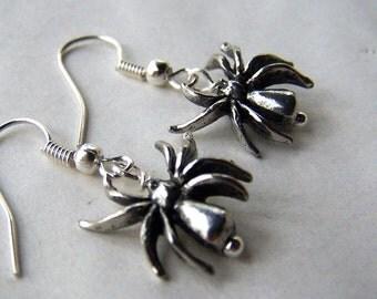 Halloween Earrings Halloween Jewelry Silver Spider Earrings Goth Earrings Spider Jewelry Black Widow