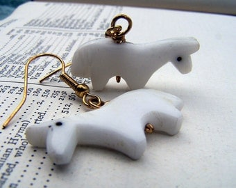Equestrian Jewelry White Jewelry Horse Earrings Alabaster Jewelry Carved Stone