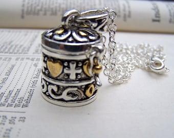 Prayer Box Necklace Locket Jewelry Little Tiny Wish Box Locket Silver Gold Secret Box Necklace