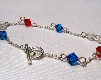 Independence Day Holiday Bracelet Red White and Blue Patriotic Bracelet Military Holiday Jewelry