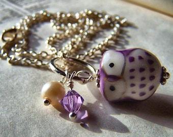 Little Purple Owl Necklace Handmade Porcelain