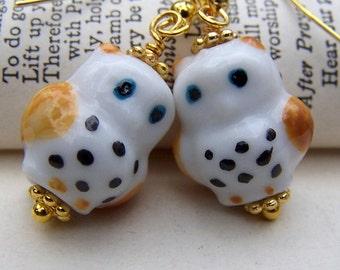Drop Earrings Owl Jewelry -Gold Owl Earrings - Cute Little Porcelain