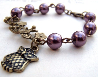 Branch Bracelet Purple Owl Bracelet Purple Pearl Bracelet Vintage Inspired Neo Victorian Bird Branch Bracelet