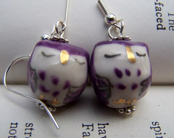 Purple Owl Earrings Owl Jewelry Cute Little Owls