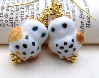 Owl Earrings Cute Little Owls Porcelain Owl Jewelry Girls Earrings