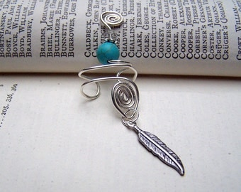 Feather Ear Cuff Turquoise Ear Cuffs Sterling Silver Wire Wrapped Handmade Blue
