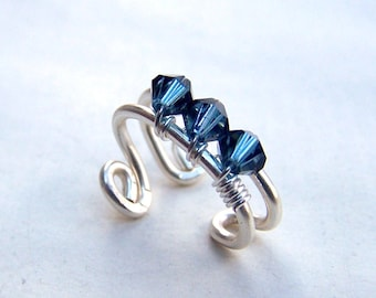 Ear Cuffs Sapphire Jewelry Sterling Silver Ear Wrap with Swarovski Crystals Earcuff December Birthstone Birthday