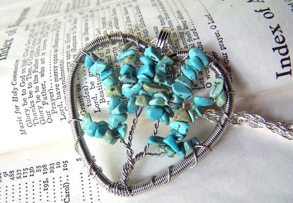 Tree of Life Necklace - Turquoise Jewelry - Aqua Silver Inspirational Motivational