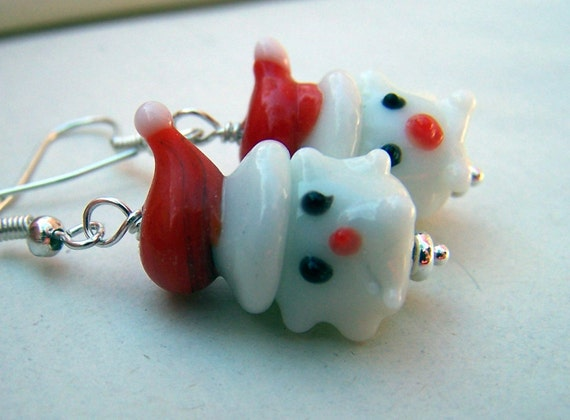 Christmas Earrings Santa Earrings Christmas Jewelry Holiday Earrings Lampwork Red White Winter Holidays Holiday Jewelry