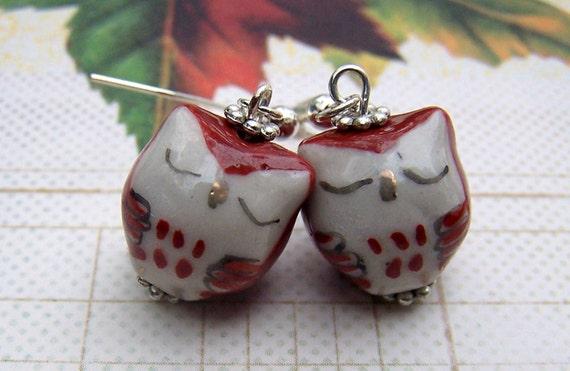 Clip on Earrings Owl Jewelry Cute Little Sleeping Owls Girls Clip ons Earrings
