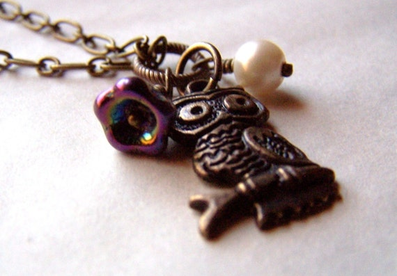 Owl Jewelry Owl Necklace Petite Purple Flower Vintage Inspired Neo Victorian Jewelry