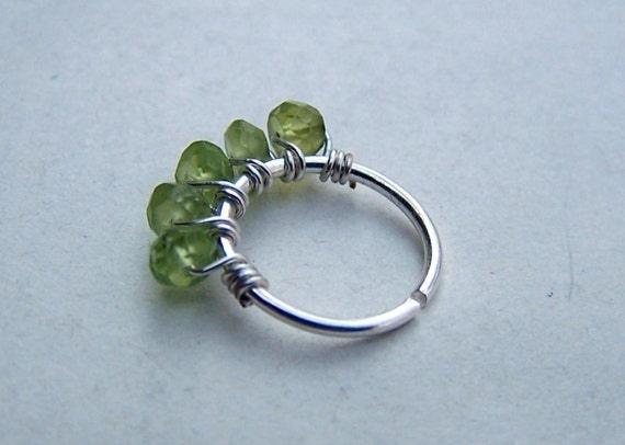 Septum Piercing Cartilage Earring Peridot Nose Ring Tragus Piercing Single Hoop Sterling Silver August Birthstone
