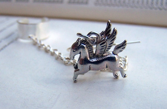 Ear Cuff with Chain - Silver Ear Cuffs -  Pegasus Jewelry Flying Horse Jewelry