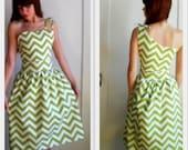 Chartreuse Chevron One Shoulder Dress