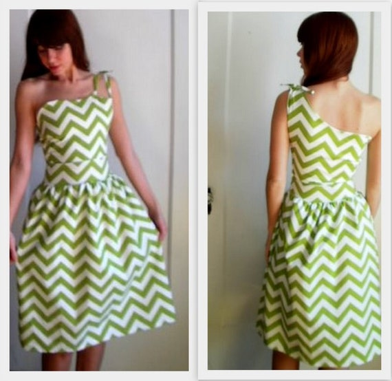 Chartreuse Chevron One Shoulder Dress