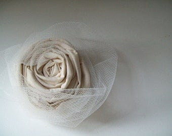 puff ... natural cotton hair clip with tulle