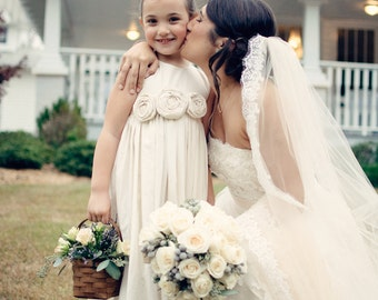 Flower girl dress, rustic flower girl dress, Natural Cotton Flower Girl Dress, farm chic flower girl dress, outdoor wedding flowergirl dress