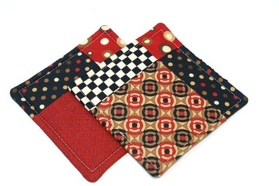 Quilted Potholder Set in Red Black and Brown Geometric Prints