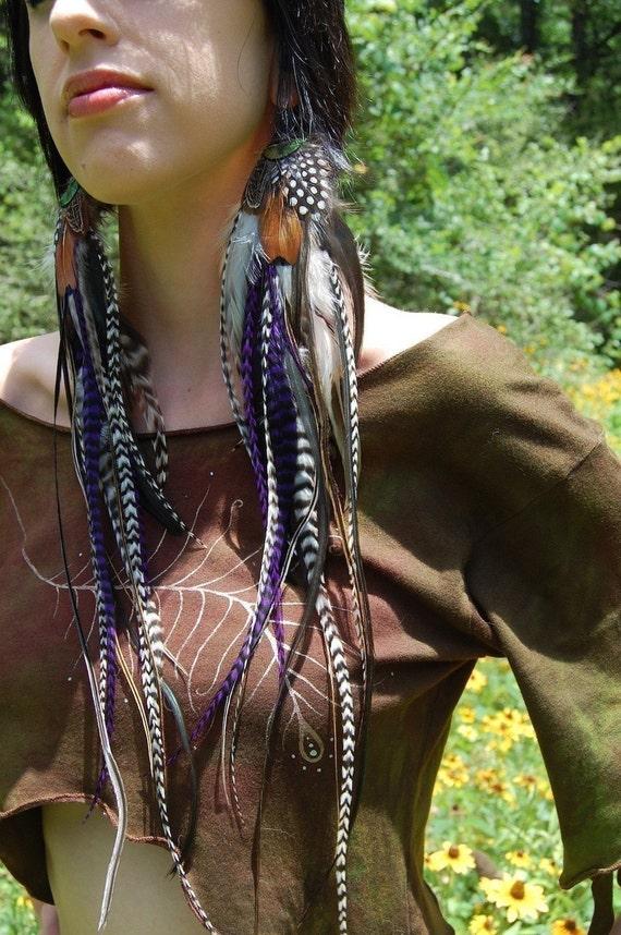ENCHANTRESS Very Long Feather Earrings