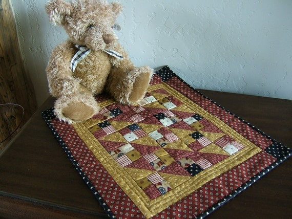 Civil War Theme Miniature Quilt or Doll Quilt in Turkey Red Border