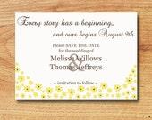 Printable Save the Date/Shower/Invitation-Custom Digital Card-Yellow Flowers