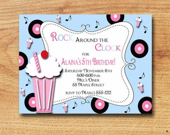 Sock Hop 50's Birthday Party Invitation-Digital Custom Card