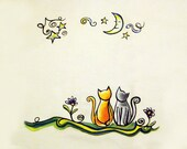 Meowing at the Moon - Sweet Dreams Illustrated Pillowcase