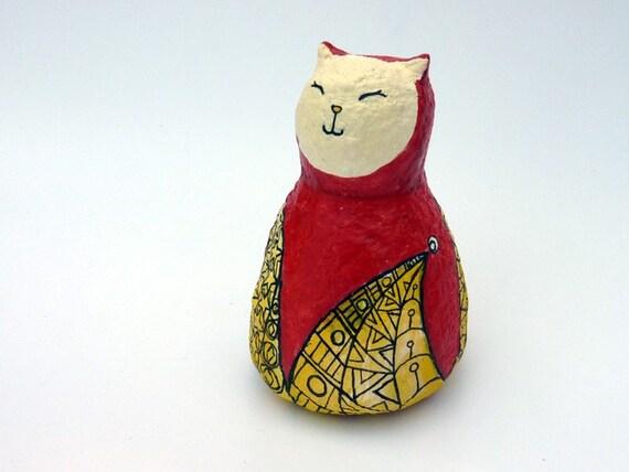 Jessie the eco friendly Jester Cat- Guardian Cat paper mache sculpture