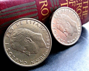 Coin Earrings - Vintage Clip On / Spanish Coins
