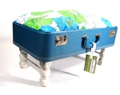 RESERVED for Kerryon Blue Lagoon Pet Bed Vintage Suitcase UpCycled WITH STAIRS.